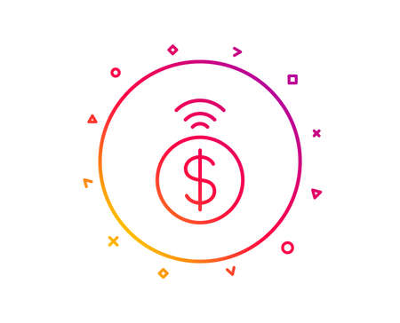 Contactless payment line icon. Dollar exchange sign. Finance symbol. Gradient pattern line button. Contactless payment icon design. Geometric shapes. Vector