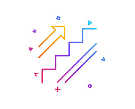 Stairs line icon. Shopping stairway sign. Entrance or Exit symbol. Gradient line button. Stairs icon design. Colorful geometric shapes. Vector