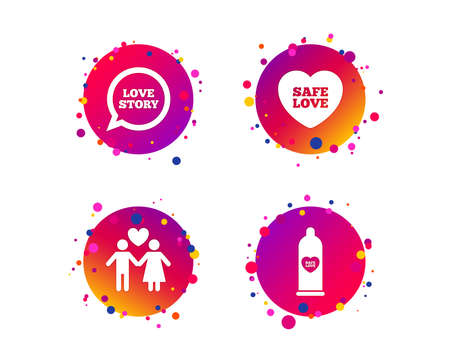 Condom safe sex icons. Lovers couple signs. Male love female. Speech bubble with heart. Gradient circle buttons with icons. Random dots design. Vector