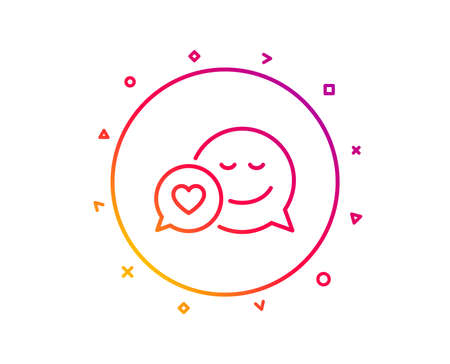 Comic speech bubble with Smile line icon. Chat emotion with heart sign. Gradient pattern line button. Dating icon design. Geometric shapes. Vector