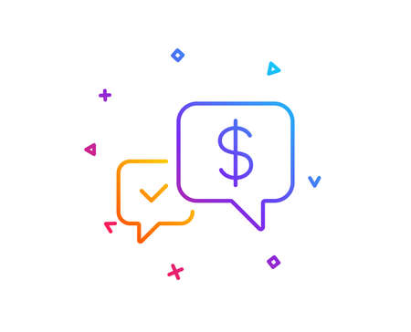 Payment receive line icon. Dollar exchange sign. Finance symbol. Gradient line button. Payment received icon design. Colorful geometric shapes. Vector