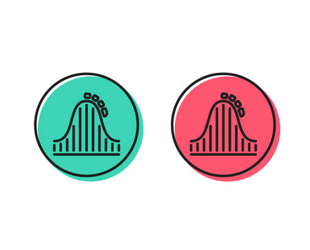 Roller coaster line icon. Amusement park sign. Carousels symbol. Positive and negative circle buttons concept. Good or bad symbols. Roller coaster Vector 일러스트