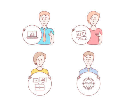 People set of Online statistics, Presentation and Business portfolio icons. Face detect sign. Computer data, Education board, Job interview. Select target. Vector Illustration