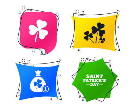 Saint Patrick day icons. Money bag with clover and coin sign. Trefoil shamrock clover. Symbol of good luck. Geometric colorful tags. Banners with flat icons. Trendy design. Vector
