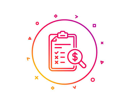 Accounting report line icon. Audit sign. Check finance symbol. Gradient pattern line button. Accounting report icon design. Geometric shapes. Vector