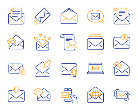 Mail message line icons. Newsletter, Email document, Correspondence icons. Received mail, Secure message and Web letter. Post office newsletter, Send email document, private communication. Vector Stock Illustratie