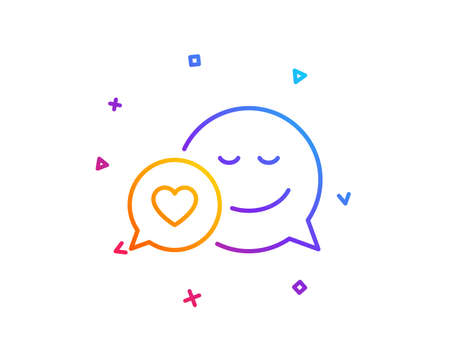 Comic speech bubble with Smile line icon. Chat emotion with heart sign. Gradient line button. Dating icon design. Colorful geometric shapes. Vector