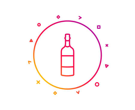 Brandy bottle line icon. Whiskey or Scotch alcohol sign. Gradient pattern line button. Brandy bottle icon design. Geometric shapes. Vector