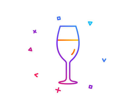 Wine glass line icon. Burgundy glass sign. Gradient line button. Wineglass icon design. Colorful geometric shapes. Vector Vettoriali