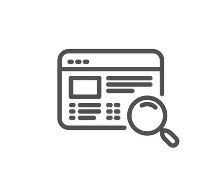 Website search line icon. Find internet page results sign. Quality design flat app element. Editable stroke Website search icon. Vector Illustration