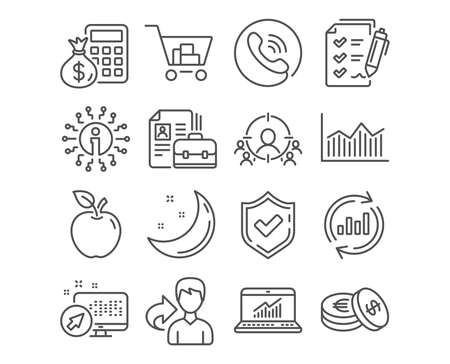 Set of Vacancy, Survey checklist and Savings icons. Update data, Finance calculator and Business targeting signs. Online statistics, Money diagram and Internet shopping. Checklist vector