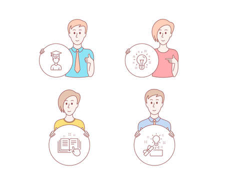 People set of Technical documentation, Idea and Student icons. Creative idea sign. Manual, Creativity, Graduation cap. Present box. Character hold circle button. Idea vector Stock Vector - 112886907