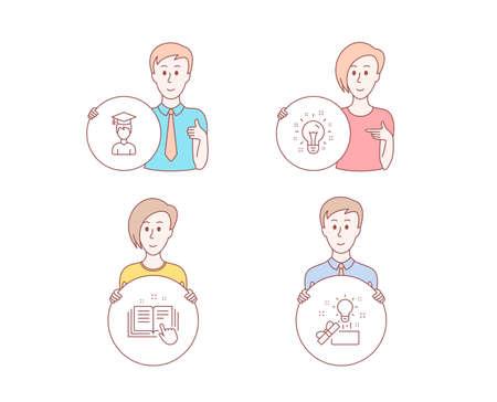 People set of Technical documentation, Idea and Student icons. Creative idea sign. Manual, Creativity, Graduation cap. Present box. Character hold circle button. Idea vector
