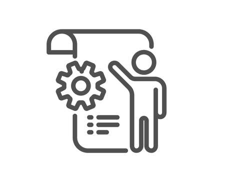 Settings blueprint line icon. Engineering cogwheel tool sign. Cog gear symbol. Quality design flat app element. Editable stroke Settings blueprint icon. Vector