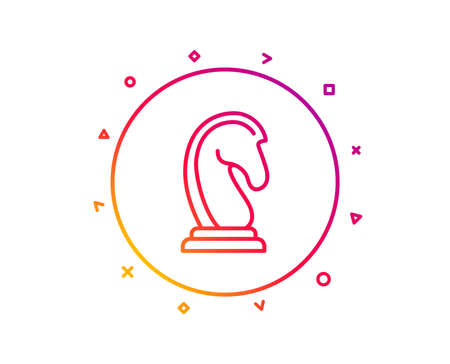 Chess Knight line icon. Marketing strategy symbol. Business targeting sign. Gradient pattern line button. Marketing strategy icon design. Geometric shapes. Vector