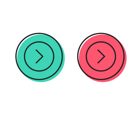 Forward arrow line icon. Next Arrowhead symbol. Next navigation pointer sign. Positive and negative circle buttons concept. Good or bad symbols. Forward Vector 일러스트