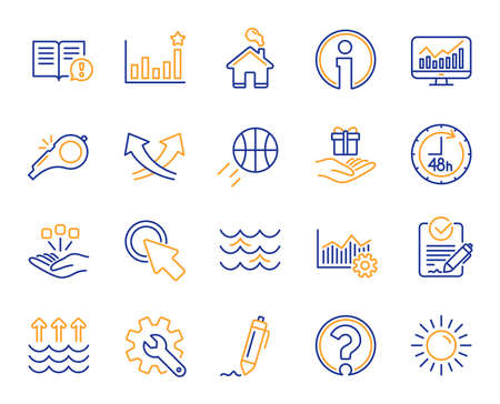 Waves, sun, efficacy line icons. Customisation, Global warming, Question mark icons. Signature Rfp, Information, Efficacy. Waves, Consolidation, Operational excellence. Question mark, whistle. Vector Imagens - 112886918