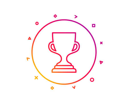 Award cup line icon. Winner Trophy symbol. Sports achievement sign. Gradient pattern line button. Award cup icon design. Geometric shapes. Vector Illustration
