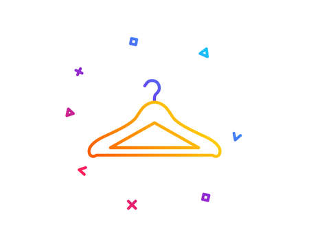 Cloakroom line icon. Hanger wardrobe sign. Clothes service symbol. Gradient line button. Cloakroom icon design. Colorful geometric shapes. Vector Ilustracja