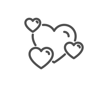 Hearts line icon. Favorite like sign. Positive feedback symbol. Quality design flat app element. Editable stroke Heart icon. Vector Illusztráció