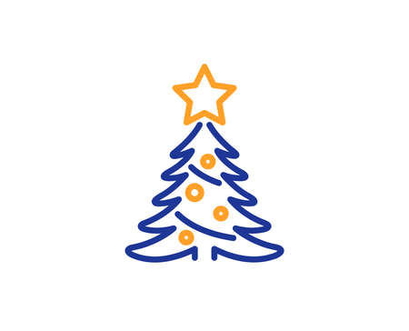 Christmas tree present line icon. New year spruce sign. Fir-tree symbol. Colorful outline concept. Blue and orange thin line color icon. Christmas tree Vector