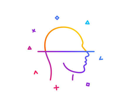 Face scanning line icon. Facial scan sign. Head recognition symbol. Gradient line button. Face scanning icon design. Colorful geometric shapes. Vector
