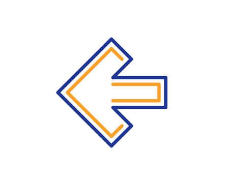 Icono de línea de flecha izquierda. Símbolo de flecha de dirección. Signo de puntero de navegación. Concepto de esquema colorido. Icono de color de línea fina azul y naranja. Vector de flecha izquierda