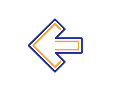 Left arrow line icon. Direction Arrowhead symbol. Navigation pointer sign. Colorful outline concept. Blue and orange thin line color icon. Left arrow Vector