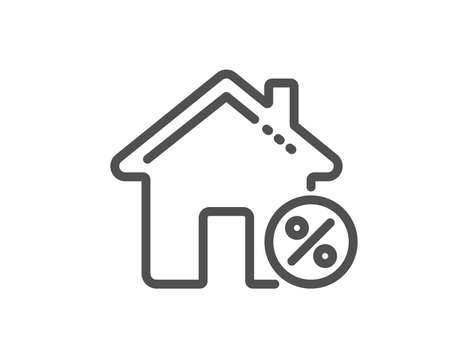 Loan house percent line icon. Discount sign. Credit percentage symbol. Quality design flat app element. Editable stroke Loan house icon. Vector Ilustração