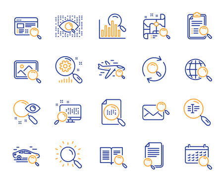 Search line icons. Photo indexation, Artificial intelligence, Car rental icons. Airplane flights, Web search engine, Analytics. Find photo, checklist document, artificial intelligence eye. Vector