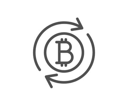 Bitcoin line icon. Refresh cryptocurrency coin sign. Crypto money symbol. Quality design flat app element. Editable stroke Refresh bitcoin icon. Vector