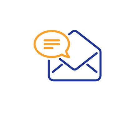 New Mail line icon. Message correspondence sign. E-mail symbol. Colorful outline concept. Blue and orange thin line color icon. New Mail Vector