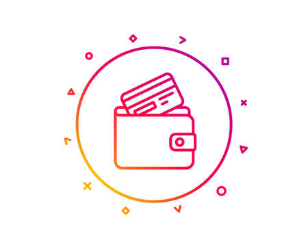 Wallet with Credit card line icon. Cash money sign. Payment method symbol. Gradient pattern line button. Debit card icon design. Geometric shapes. Vector Ilustracje wektorowe