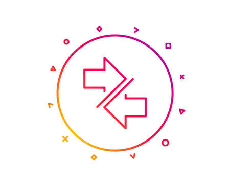 Synchronize arrows line icon. Communication Arrowheads symbol. Navigation pointer sign. Gradient pattern line button. Synchronize icon design. Geometric shapes. Vector 스톡 콘텐츠 - 112886949