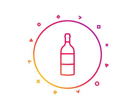 Wine bottle line icon. Merlot or Cabernet Sauvignon sign. Gradient pattern line button. Wine bottle icon design. Geometric shapes. Vector