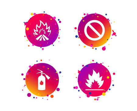 Fire flame icons. Fire extinguisher sign. Prohibition stop symbol. Gradient circle buttons with icons. Random dots design. Vector