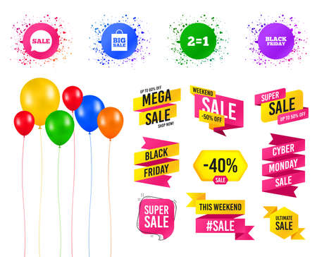 Balloons party. Sales banners. Sale speech bubble icons. Two equals one. Black friday sign. Big sale shopping bag symbol. Birthday event. Trendy design. Vector