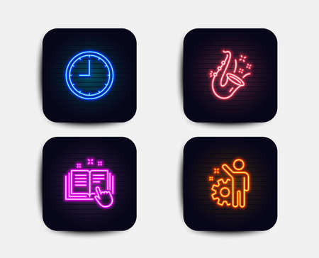 Neon set of Time, Jazz and Technical documentation icons. Employee sign. Office clock, Saxophone, Manual. Cogwheel. Neon time icons. Glowing light banners. Vector