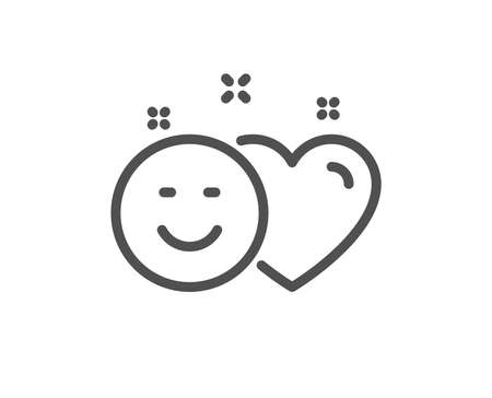 Social media like line icon. Heart, smile sign. Positive feedback symbol. Quality design flat app element. Editable stroke Smile icon. Vector Illustration
