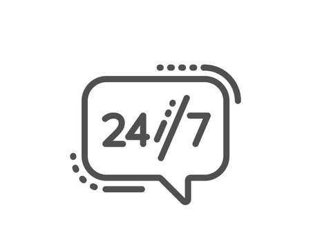 24/7 service line icon. Call support sign. Feedback chat symbol. Quality design flat app element. Editable stroke 24/7 service icon. Vector