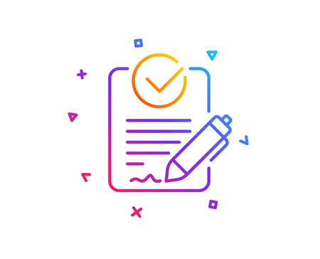 Rfp line icon. Request for proposal sign. Report document symbol. Gradient line button. Rfp icon design. Colorful geometric shapes. Vector