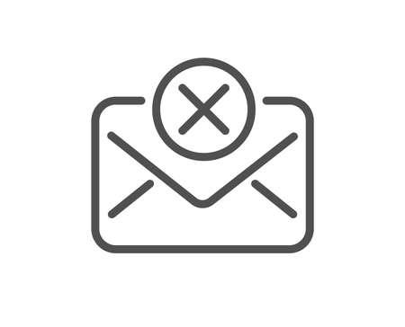 Reject mail line icon. Delete message sign. Decline web letter. Quality design flat app element. Editable stroke Reject mail icon. Vector
