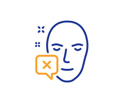 Face declined line icon. Human profile sign. Facial identification error symbol. Colorful outline concept. Blue and orange thin line color icon. Face declined Vector
