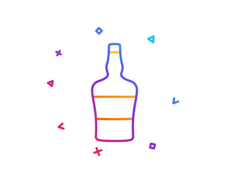 Scotch bottle line icon. Brandy alcohol sign. Gradient line button. Scotch bottle icon design. Colorful geometric shapes. Vector Ilustrace