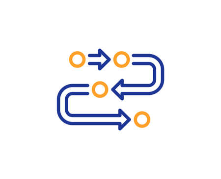 Methodology line icon. Development process sign. Strategy symbol. Colorful outline concept. Blue and orange thin line color icon. Methodology Vector Ilustração