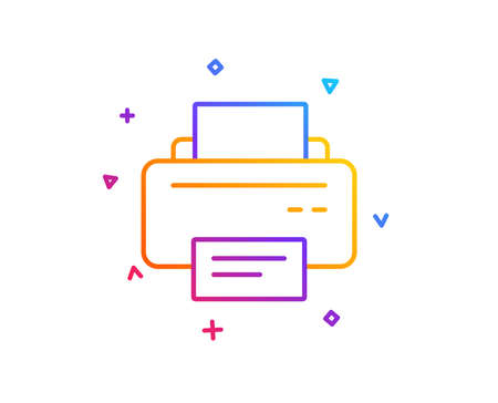 Printer icon. Printout Electronic Device sign. Office equipment symbol. Gradient line button. Printer icon design. Colorful geometric shapes. Vector