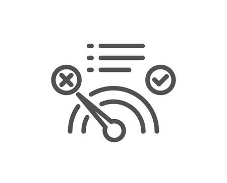 Zeilensymbol für die Bandbreitenanzeige ablehnen. Kein Internet-Zeichen. Tachometer-Symbol. Flaches App-Element für hochwertiges Design. Bearbeitbarer Strich Kein Internetsymbol. Vektor