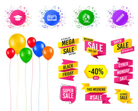 Balloons party. Sale banners. Pencil and open book icons. Graduation cap and geography globe symbols. Education learn signs. Birthday event. Trendy design. Sale banners vector Ilustração