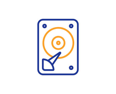 HDD icon. Hard disk storage sign. Hard drive memory symbol. Colorful outline concept. Blue and orange thin line color icon. HDD Vector Ilustração