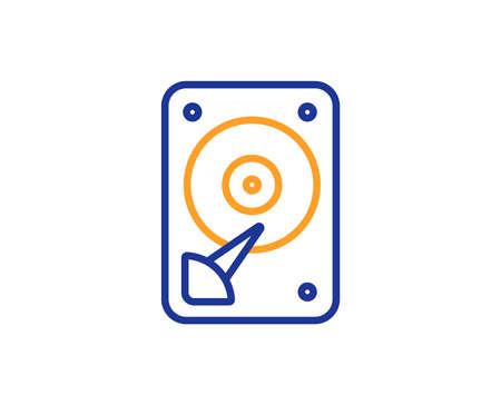 Icône de disque dur. Signe de stockage sur disque dur. Symbole de mémoire de disque dur. Concept de contour coloré. Icône de couleur de fine ligne bleue et orange. Vecteur de disque dur Vecteurs